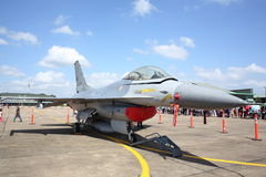 F-16 show at Wing7 Airbase on Thai Children's Day. SURAT THANI, THAILAND - JANUARY 10 : F-16 show at Wing7 Airbase on Thai Children's Day on January 10, 2015 in Royalty Free Stock Photos