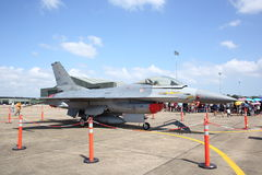 F-16 show at Wing7 Airbase on Thai Children's Day. SURAT THANI, THAILAND - JANUARY 10 : F-16 show at Wing7 Airbase on Thai Children's Day on January 10, 2015 in Royalty Free Stock Photo