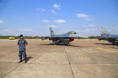 F-16 with soldier display/show on children's Day at Korat Wing 1 Royalty Free Stock Photo