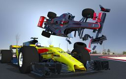 F1 sports car crash stock photo