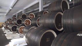 F?sser Kognak, Wein oder Whisky Auszug des Weinbrands in den Eichenf?ssern Alkohollager Hunderte von den F?ssern in stock footage