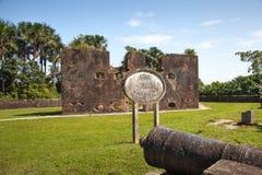 f?stning Tegelstenv?ggar av Fort Zeelandia, Guyana royaltyfri foto