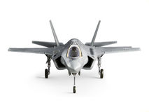 F35 strike aircraft front view. Isolated on a white background Royalty Free Stock Photos