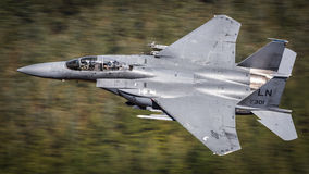 F15 fighter jet. F15 Strike Eagle fighter jet with pilot and Weapons Support Officer  WSO  of the United States Air Force USAF flying a low level training