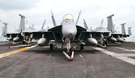 F18 Super Hornets. In Delta formation on board the USS Abraham Lincoln carrier (CVN-72 Royalty Free Stock Photos