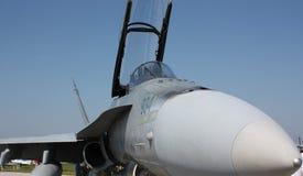 F-18 szerszeń przy Cleveland pokazem lotniczym zdjęcie royalty free