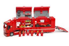 F14 T & Scuderia Ferrari Truck  by LEGO Speed Champions. Tambov, Russian Federation - June 27, 2015 Lego F14 T & Scuderia Ferrari Truck with race car inside Royalty Free Stock Images