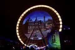 Fête des Lumières - Lyon -fire wheel Stock Photos