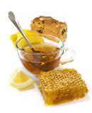 F tea, biscuits,lemon and honey Stock Image