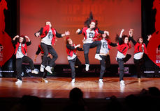 F-team group dance at Hip Hop International Cup. MOSCOW - MARCH 27: F-team group dance at Hip Hop International Cup of Russia 2011, on March 27, 2011 in Moscow stock photos