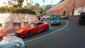 F-tipo anaranjado general Lee In Monaco de Jaguar almacen de metraje de vídeo