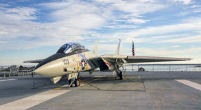 F-14 Tomcat fighter jet on aircraft carrier deck stock photography