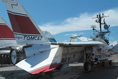 F-14 Tomcat. An F-14 Tomcat fighter jet on the the deck of the USS Intrepid Stock Images