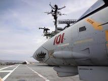 F-14A Tomcat - Nadd?wi?kowy, dwusilnikowy, zmienny zakresu skrzyd?o, strajkowy wojownik na pok?adzie legendarny WWII USS szerszen zdjęcie stock