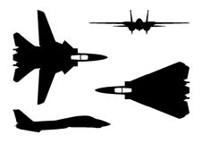F-14 tomcat. Vector illustration silhouette of the multirole aircraft f-14 tomcat  on white background. Editable eps file available Stock Photos