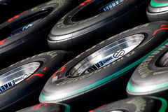 F1 Tyres Ready For Use in the Pits Stock Image