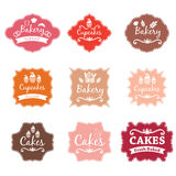 F vintage retro bakery logo labels Royalty Free Stock Image