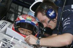 F1 2007 - Kazuki Nakajima Williams Arkivfoton