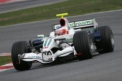 F1 2008 - Rubens Barrichello Honda. Rubens Barrichello, Honda RA108, during Formula One test in Barcelona - February 2008 Stock Image