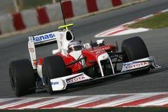F1 2009 - Jarno Trulli Toyota. Jarno Trulli, Toyota TF109 during Formula One test in Barcelona - March 2009 Stock Image