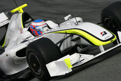 F1 2009 - Jenson Button Brawn GP. Jenson Button, Brawn GP BGP001, during Formula One test in Barcelona - March 2009 royalty free stock photo