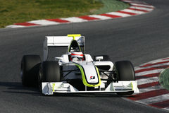 F1 2009 - Rubens Barrichello Brawn GP. Rubens Barrichello, Brawn GP BGP001, during Formula One test in Barcelona - March 2009 royalty free stock images