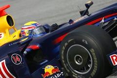 F1 2009 - Teken Webber Red Bull Stock Foto