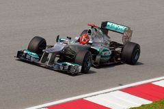 F1. SEPANG, MALAYSIA - MARCH 23: Michael Schumacher of Mercedes AMG Petronas F1 Team takes to the tracks on practice day of the Petronas Malaysian F1 Grand Prix Royalty Free Stock Image
