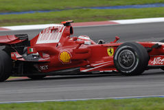F1. Close up of Kimi Raikkonen negotiating a turn at Sepang F1 Malaysia 2008 Grand Prix Stock Photography