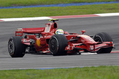 F1. Felipe Massa negotiating a turn at Sepang F1 Malaysia 2008 Grand Prix Stock Photos