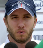 F1. BMW Formula One driver Nick Heidfeld of Germany speaks to journalists at Sepang circuit, near Kuala Lumpur Royalty Free Stock Photo