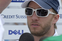F1. BMW Formula One driver Nick Heidfeld of Germany speaks to journalists at Sepang circuit, near Kuala Lumpur Stock Photo