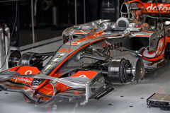 F1. Heikki Kovalainen in pit garage Stock Images