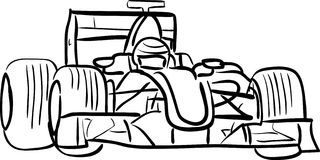 F1 car outlined vector illustration