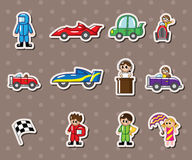 F1 car  racing stickers. Cartoon vector illustration Royalty Free Stock Image
