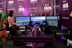 F1 Car Simulator. This was a car simulator at the Fan Fest in Austin, TX for the Formula One Royalty Free Stock Photo