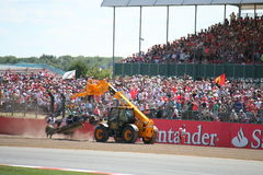 F1 Crashed Car Towed Royalty Free Stock Photo