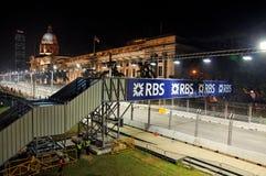 F1 night race track along Singapore City Hall Stock Image