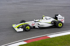 F1 Racing 2009 - Rubens Barrichello (Brawn GP) Royalty Free Stock Image