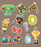 F1 racing stickers. Cartoon vector illustration Stock Images