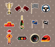F1 racing stickers. Cartoon  illustration Royalty Free Stock Photos