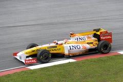 F1 Rennend 2009 - Fernando Alonso (Renault) Stock Foto's