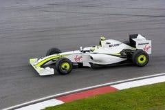 F1 Rennend 2009 - Rubens Barrichello (GP Hoofdkaas) Royalty-vrije Stock Afbeelding