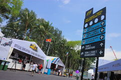 F1 Singapore Grand Prix signboard and merchandise Royalty Free Stock Photo