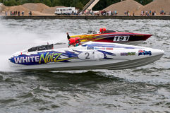 F1 waterski race. Wayne Mawer's boat competing in men's Formula One world championships waterski race in Genk Belgium Royalty Free Stock Photo