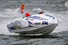 F1 waterski race boat. Wayne Mawer's boat competing in men's Formula One world championships waterski race in Genk Belgium Stock Photos