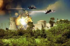 Free F15 Attack To Nuclear Power Plant Royalty Free Stock Photos - 183535108