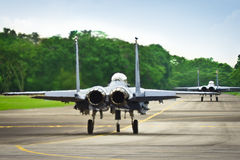 F15 & F16 on runway Royalty Free Stock Photos