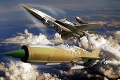 F15 versus Mig 21 Stock Image