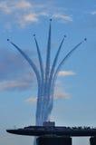 F16 aerial display over Marina Integrated Resorts Royalty Free Stock Photos